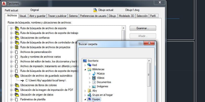 ¿Dónde guarda AutoCAD las copias de seguridad automáticas?